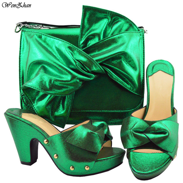 High Quality Green African Designer Shoes And Bag Set To Match/ Italian Shoes With Matching Bags Set for wedding party! B88-18