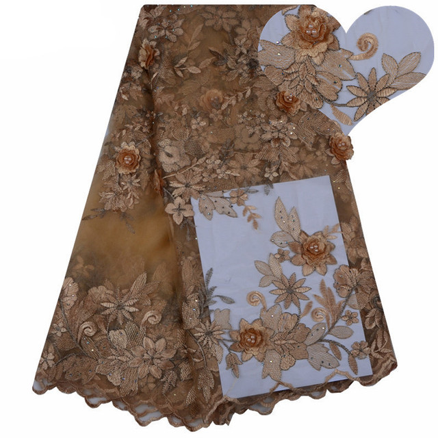 Nigerian Lace Fabrics For Wedding 2018 Gold African French Beaded Trim High Quality 3 D