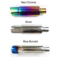 RASTP Neo Chrome Hi Power Universal 304 Stainless Steel Gold Exhaust Pipe Racing Muffler Tip Car