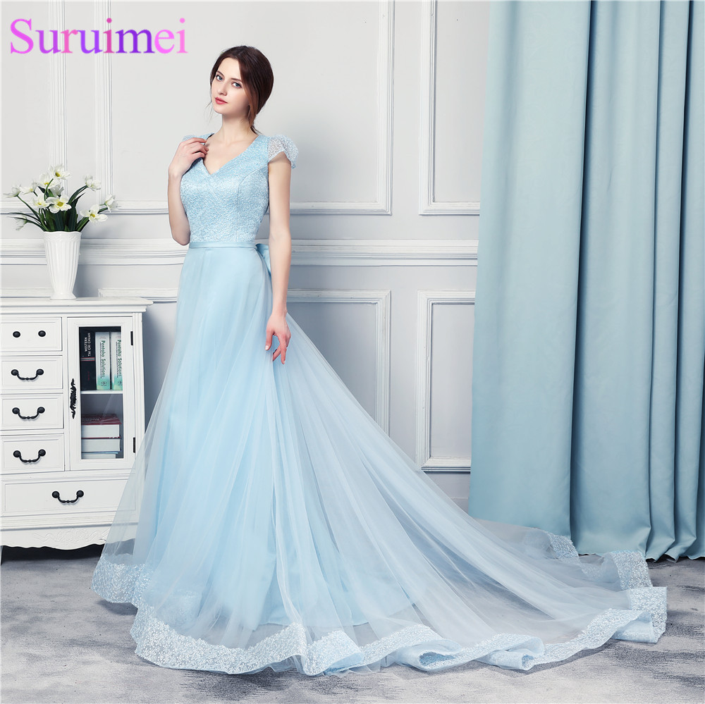 Light Baby Blue Prom Dresses High Quality Tulle Beaded With Lace ...