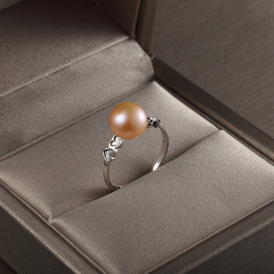 Trendy Heart Natural Pink Pearl Ring for Women 39 s Anniversary Jewelry Gifts 8 9MM Freshwater Pearl Fine Jewelry Wholesale FEIGE in Rings from Jewelry amp Accessories