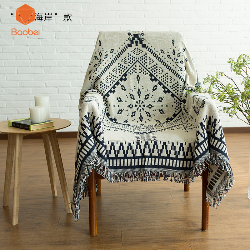 100% Cotton Double - sided blanket sofa decorative slipcover Throws on Sofa/Bed/Plane Plaids Rectangular stitching Blanket SF27