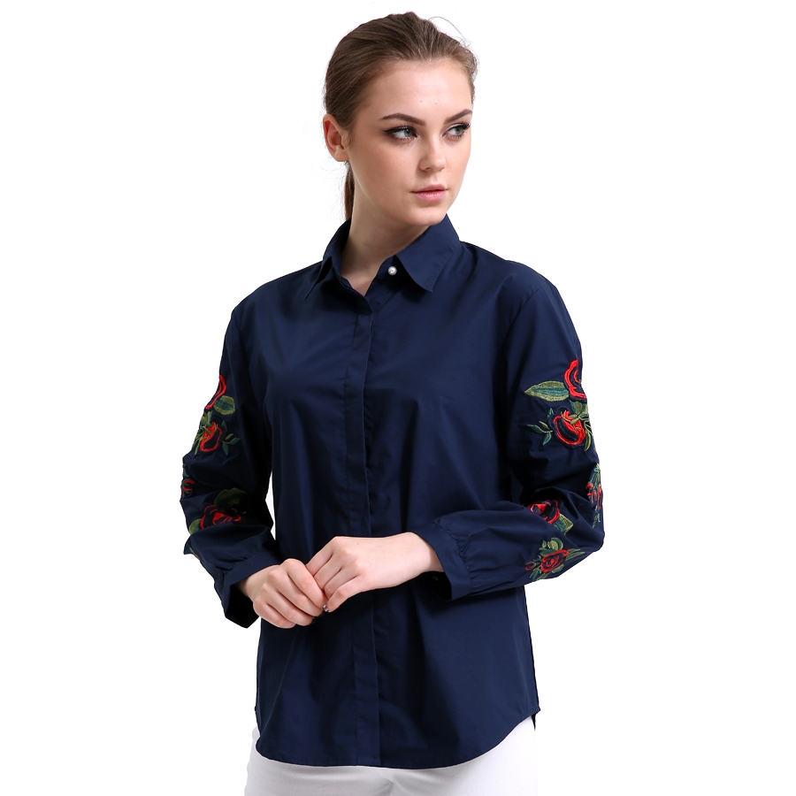 2017 New Fashion Embroidery Women Long Sleeve Blouse Solid Ladies White Tops Embroidered Floral Shirt Women Cotton Clothing