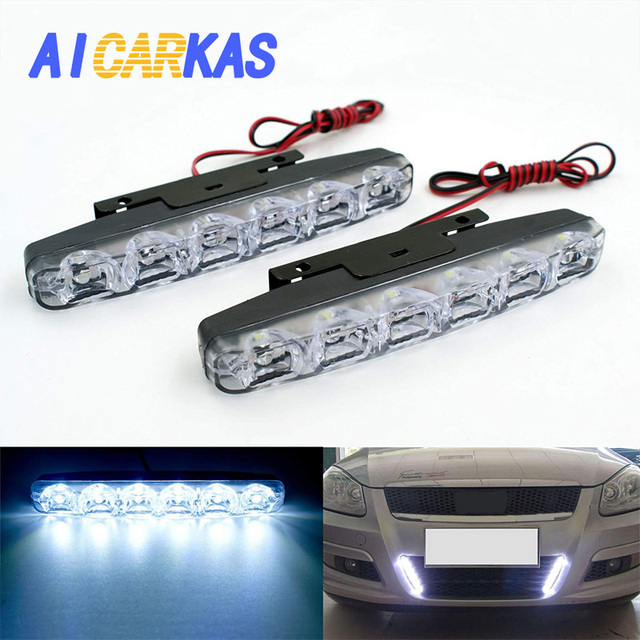 Superbright 6/ Piece Updated Support to Waterproof Aluminum High Power 20/ W 6000/ K Xenon Slim Cob Led Drl Daylight Driving Daytime Running Light DRL for all Vehicles with 12/ V 2, White, 2/ pcs. Blue Set of 2, Ice Blue