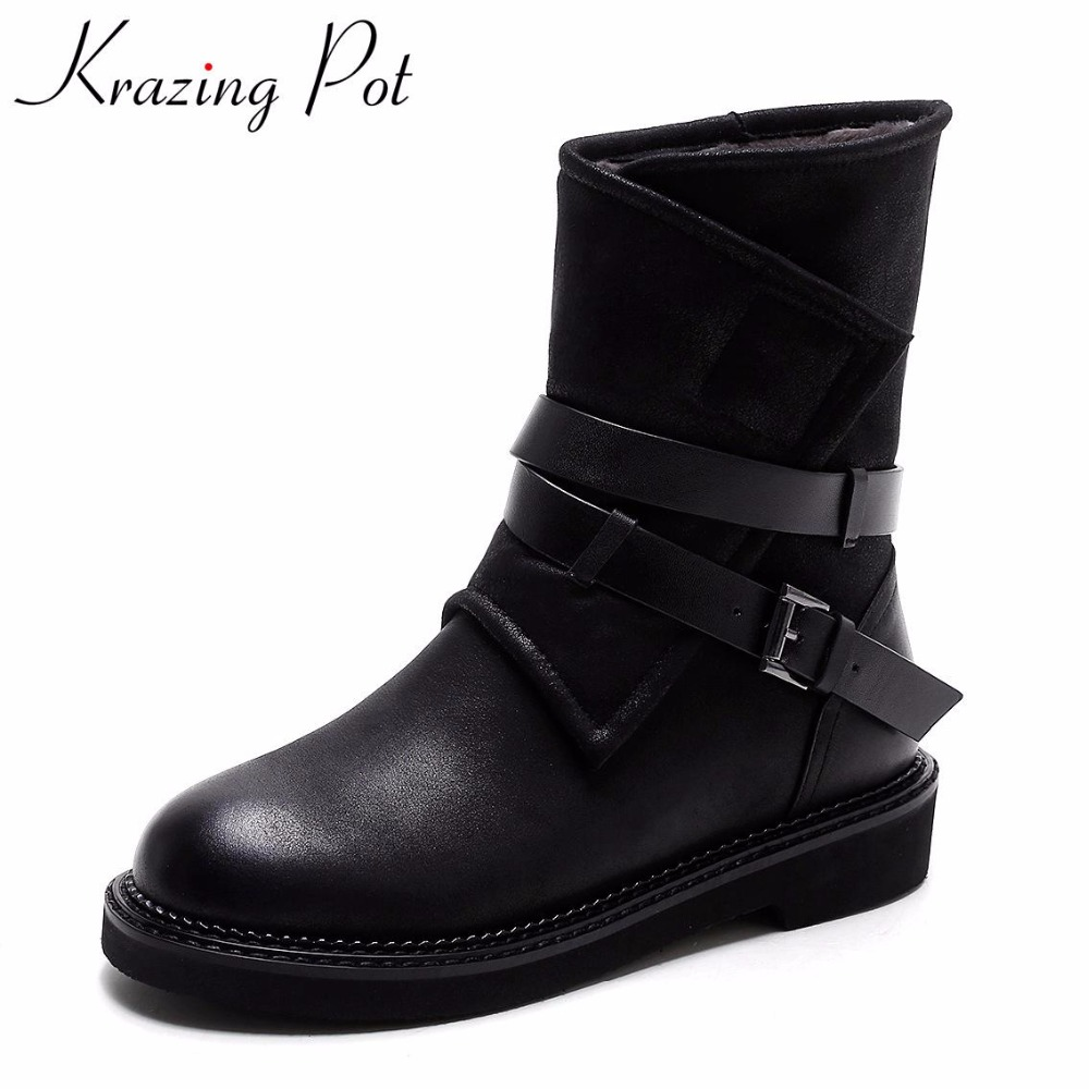 Krazing Pot 2018 thick heel solid round toe fashion winter boots superstar motorcycle boots warm casual women Mid-Calf boots L31 lady big size 4 15 tassel nubuck leather velvet women boots round toe mid calf winter boot thick high heel boots 3colors