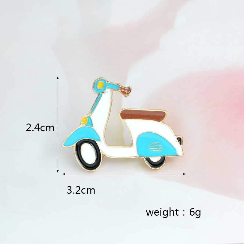 Kartun Lucu Mobil Bros Motor Ikon Enamel Biru Sepeda Motor Jaket Jeans Ransel Anak Gadis Fashion Perhiasan Hadiah