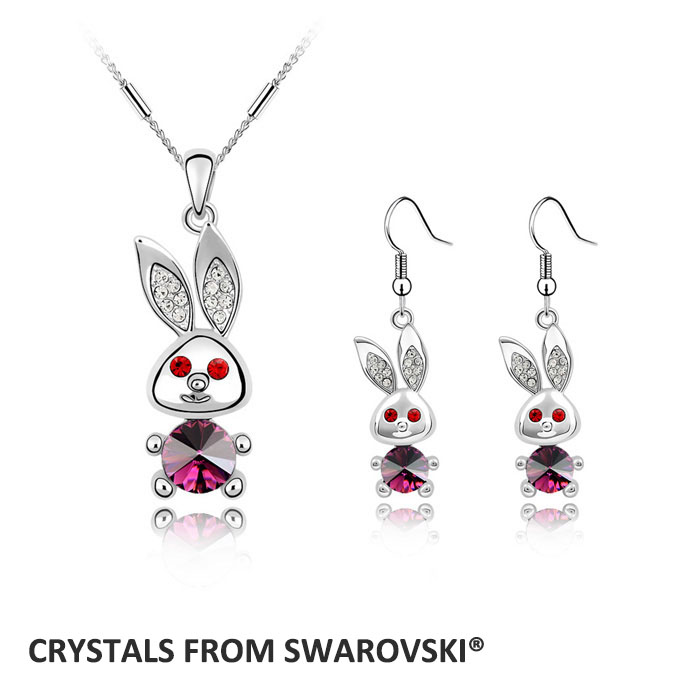 2015 hot sale! lovely rabbit necklace earrings jewelry set crystals from Swarovski Christmas Gift