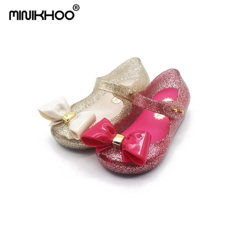 Mini Melissa Original Big Bow Girls Jelly Sandals 2018 New Melissa Children Shoes Baby Sandals Non-slip Girls Beach Sandals