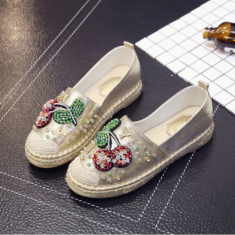 2017 Spring Autumn Women Crystal Flat Shoes Loafer Woman Espadrilles  Pearl Hemp Bottom Frisherman Shoes golden sequins shoes female loafer girl s fashion platform shoes women neon boat shoes woman flat low shoes autumn spring summer