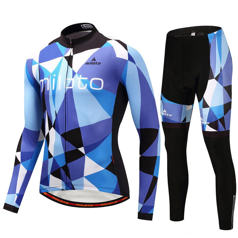 MILOTO New Mens Long Sleeve Quick Dry Cycling Clothing Breathable Bike Riding Wear Bicycle Jersey Set Gel Pad Bib Pants Clothes