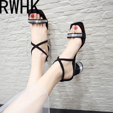 RWHK New summer fairy belt black buckle 2019 sandals Korean version square head wild thick with high heels B306