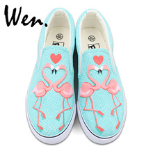 Wen Flamingo Bird Original Design Slip On Hand Painted Shoes Loving Heart Custom Canvas Sneakers for Man Woman Gifts