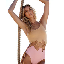 01b4b235389 PINK WIND Brown Pink Patchwork Cut Out One Shoulder One Piece Swimsuit Women  2018 Open Midriff