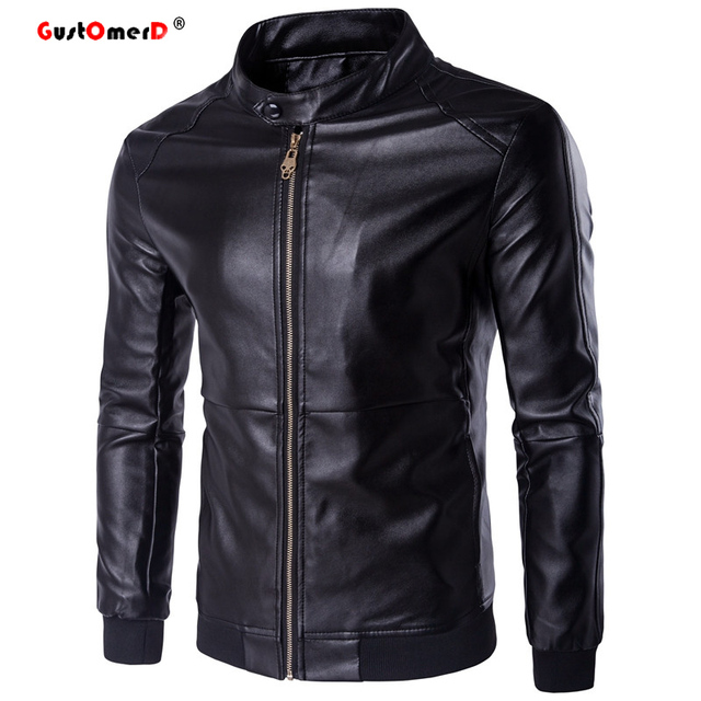 GustOmerD Stand Collar Slim Jacket Men Fashion Brand High Quality Warm Winter  Casual Mens Leather Jackets Coats Oversize 5XL