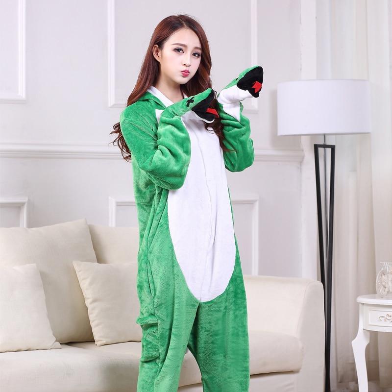 Funny Soft Green Snake Flannel Unisex Adult Pajamas Kigurumi Cosplay Costume Animal Onesie Sleepwear For Halloween Cosplay (2)