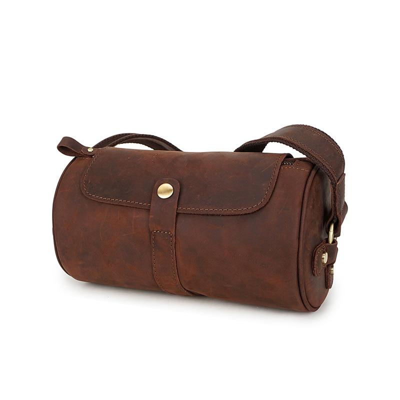 Genuine Leather Men Shoulder Bag  Crazy Horse Leather Messenger Business Bag For Men Vintage Briefcases Barrel