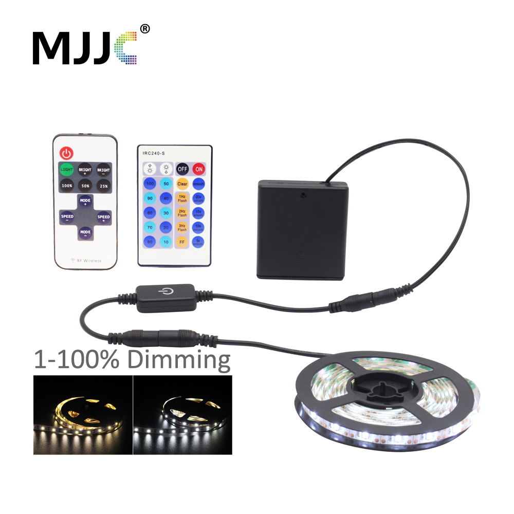 <font><b>LED</b></font> <font><b>Strip</b></font> Light Dimmable <font><b>Battery</b></font> <font><b>Operated</b></font> Powered Touch SMD 3528 5V Waterproof Warm White Remote <font><b>LED</b></font> Ribbon Tape Stripe Light image