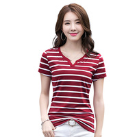 Hot Sale 2017 Korean Style Women Fashion Slim Sexy V-Neck Short Sleeve Stripe Vogue T shirt Tops Female Cute Plus Size Shirts