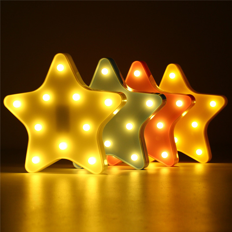 Cute Star LED Night Light Wall mounting Lamp Battery Powered Baby Kids Bedroom Home Deco ...