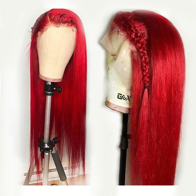 150% Density Preplucked Red Colored 360 Lace Frontal Human Hair Wigs Long Straight Brazilian Remy Invisible Lace Front Closure