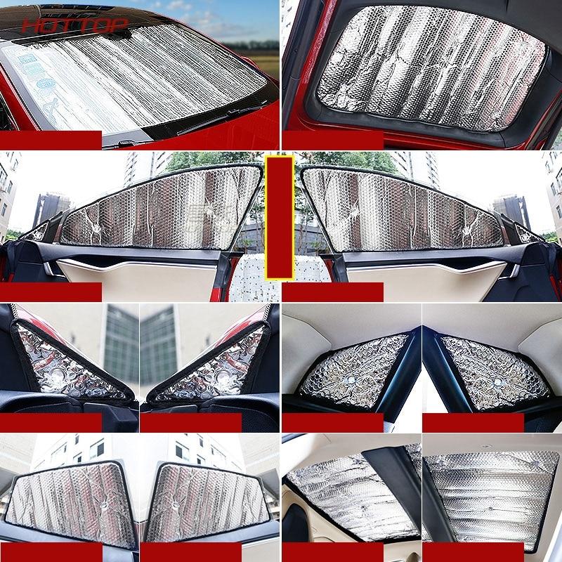 Cubierta protectora todoterreno con revestimiento de plata, parasol para coche de verano, parabrisas/ventana lateral, luz solar para el modelo S - 5