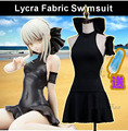 Stock Saber!Anime Fate grand cosplay costume Swimsuit Lycra/PU swimwear girls black sexy bodysuit full set free shipping