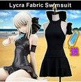 Stock Sable! Anime Destino gran cosplay traje traje de Baño de Lycra/PU muchachas del traje de baño negro sexy traje de sistema completo del envío gratis