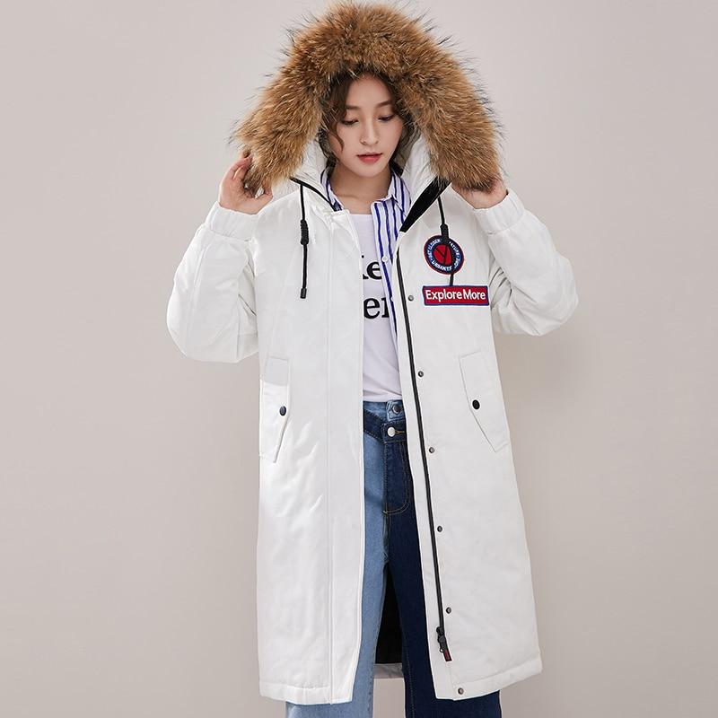 Women's Down Jacket Winter 90% Goose Down Coat Fashion Real Raccoon Fur Collar Hooded Long Outwear 2019 New Winter Jacket Women