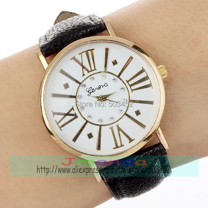 100pcs/lot Exclusive Design Roman Style Leather Watch Factory Price Ladies Quartz GENEVA Logo Watch Wrap Dress Women Watch | Fotoflaco.net