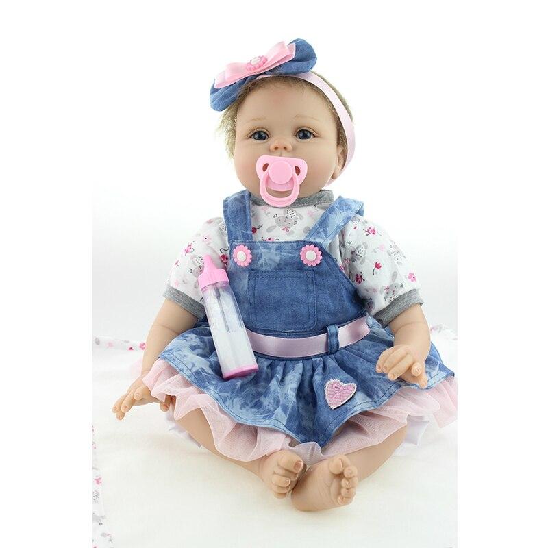 NPK 55cm Zachte Siliconen Reborn Pop Pasgeboren Baby Meisje Echte Levensechte Living Pop Simulatie Kid Slapen Playmate Speelgoed Meisje gift-in Poppen van Speelgoed & Hobbies op  Groep 1