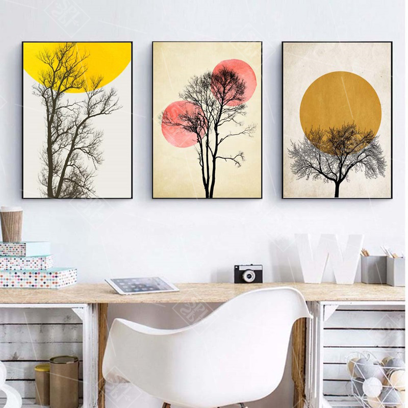Abstract Minimalist Moon Night Landscape Canvas Painting Yellow Circle Posters And Prints Nordic Wall Pictures For Living Room