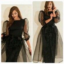 Nach maß Einfache schwarz Prom Kleid mit ärmeln Saudi-arabien Lange Abendkleid organza hohe qualität party kleid in Dubai