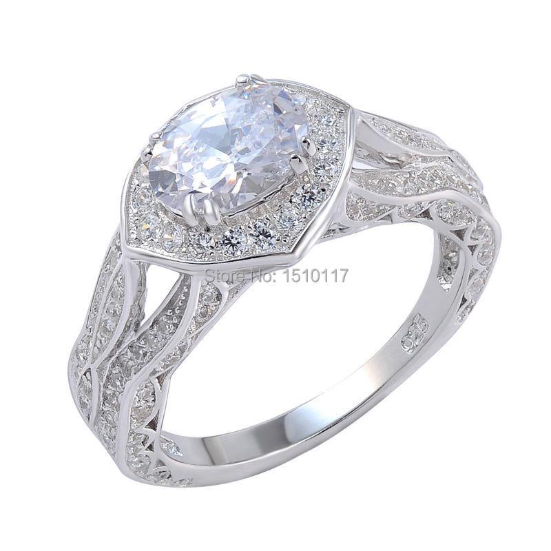 1ffda5d3adb3 Sólido 925 de plata esterlina boda anillo de compromiso para las mujeres  amor de corazón AAA CZ joyería clásica