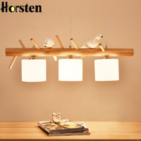 Хорстен 3 головы Современная Nordic OAK деревянные подвесные светильники простой птица деревянные, подвесные лампы для столовой комнаты Рестор