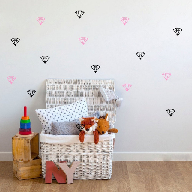 18pcs DIY Diamond Wall Stickers Decorative Vinyl PVC Wall Stickers For Kids Baby Rooms Wall Muurstickers & 18pcs DIY Diamond Wall Stickers Decorative Vinyl PVC Wall Stickers ...