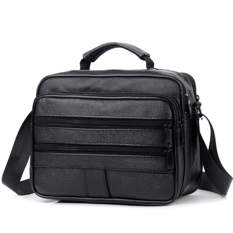 2019 New Men Leather Handbag Zipper Men Business Bag Black Male Bag Shoulder Bags Messenger Bags Men's Briefcases