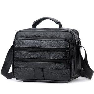 Image 1 - New Men Leather Handbag Zipper men Business bag Black Male Bag Shoulder bags Messenger bags mens briefcases bag Crossbody bag
