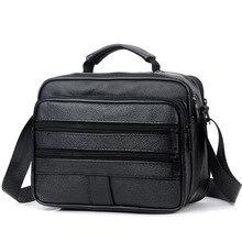 Nowi mężczyźni skórzana torebka na zamek mężczyźni torba biznesowa czarna torba męska torby na ramię Messenger torby męskie teczki torba Crossbody bag