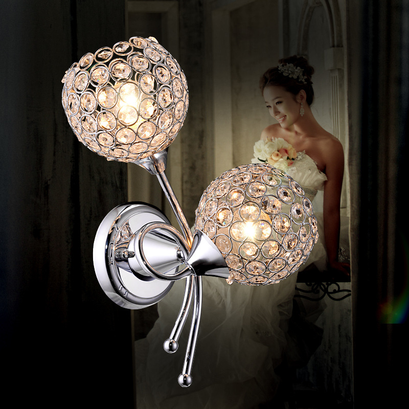 Bedroom bedside crystal wall lamp applique murale luminaire led light