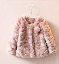 Y30865365 Розничная 2015 Новая Зимняя Девочка Пальто Твердые Искусственного Меха Девушки Верхняя Одежда Мода Todder Девушка Одежда