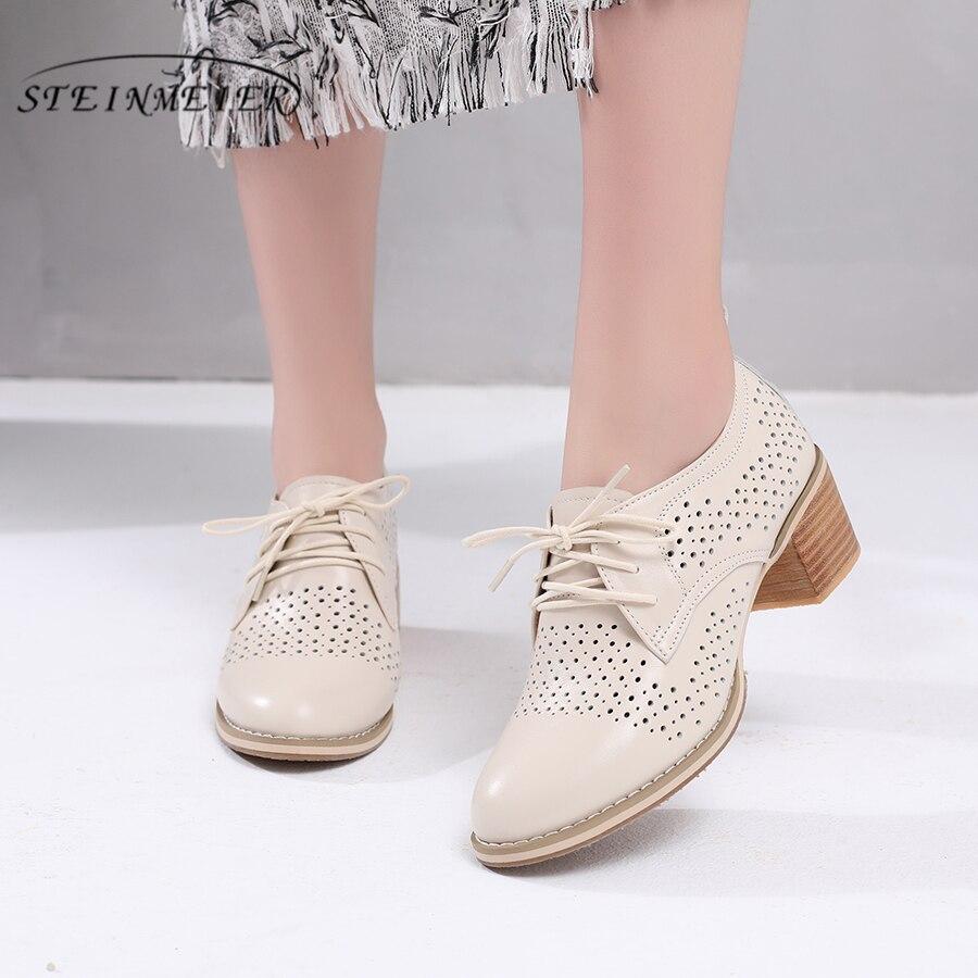 100% Echte koe lederen designer vintage schoenen Pumps Sandalen casual schoenen handgemaakte oxford schoenen voor vrouwen beige grijs zomer-in Damespumps van Schoenen op  Groep 1