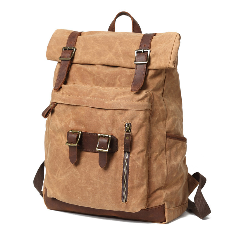 Men Canvas Backpack Outdoor Travel Backpack Canvas School Bag Canvas Backpack Outdoor Waterproof Travel Bag image