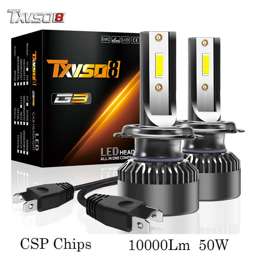 TXVSO8 H7 LED headlight bulbs 6000K CSP chips 10000Lm 50w fog lights Tubor led H1 H4 H11 9005 HB3 9006 HB4 9012 Auto headlamp