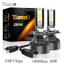 цена на TXVSO8 H7 LED headlight bulbs 6000K CSP chips 10000Lm 50w fog lights Tubor led H1 H4 H11 9005 HB3 9006 HB4 9012 Auto headlamp