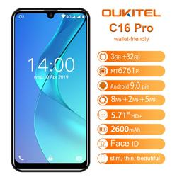 OUKITEL C16 Pro 5.71 inch 19:9 Smartphone Android 9.0 Quad Core 3GB 32GB Mobile Phone MTK6761P Cellphone 2600mAh 8MP+2MP Face ID