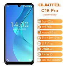 OUKITEL C16 5.71 인치 19:9 스마트 폰 안드로이드 9.0 쿼드 코어 3GB 32GB 휴대 전화 MTK6761P 핸드폰 2600mAh 8MP + 2MP 얼굴 ID