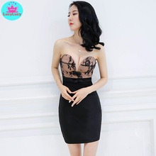 2019 new sexy lace stitching slim pack hip women wrapped chest back nightclub tight dress Knee-Length  Strapless