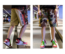 Men's Camouflage Cargo Shorts, Summer Street Fashion Short Pants for Adolescents and Young Boys, Contrast Color Camo Work Shorts(China)
