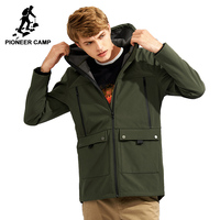 Pioneer Camp Windbreaker Hooded Jacket Coat Men Brand Clothing Waterproof Softshell Casual Warm Fleece Outerwear Male