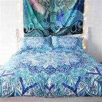 Bohemian Bedding Set Floral Paisley Pattern Duvet Cover Set Sky Blue India Hippie Mandala Bedspread